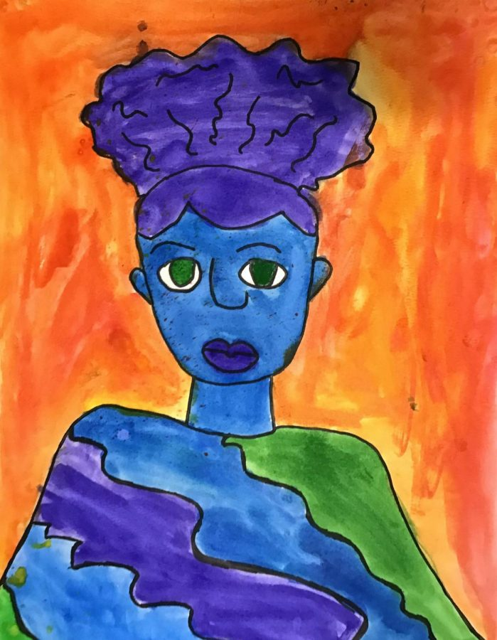 A self-portrait painted by fifth grader Zachyliah Herring.