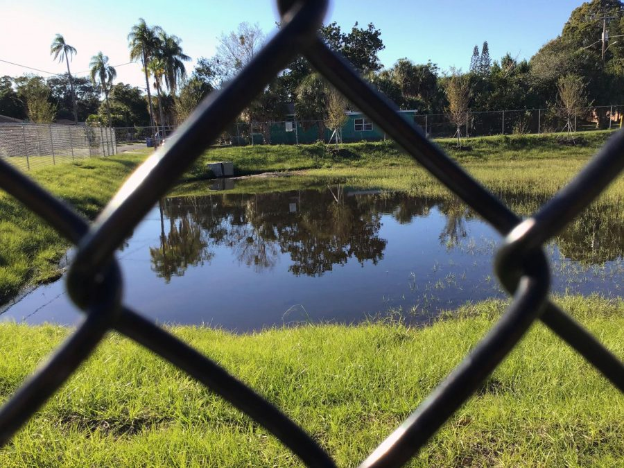 A fenced off retention pond is just out of reach for scholars.