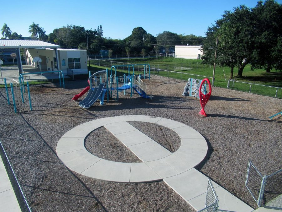 The playground remains quiet after school lets out.