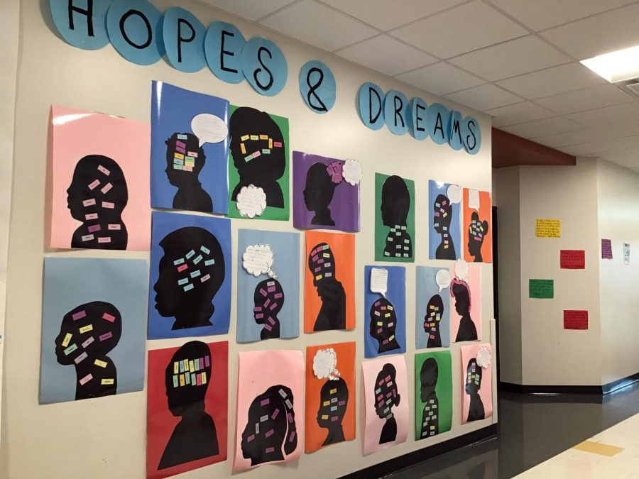 Third-grade scholars present their hopes in dreams as silhouettes with thought bubbles.