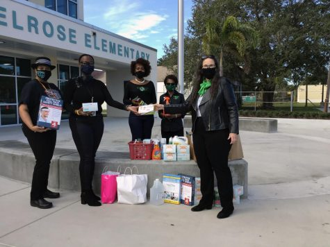 Melrose staff accept COVID supplies from the St. Petersburg chapter of the Links. The Links donated face masks, hand sanitizer, cleaners, face shields and more.